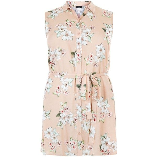 New Look Plus Size Pink Floral Print Sleeveless Shirt ($26) ❤ liked on Polyvore featuring tops, pink pattern, women plus size tops, sleeveless shirts, pink plus size tops, floral print top and flower print shirt