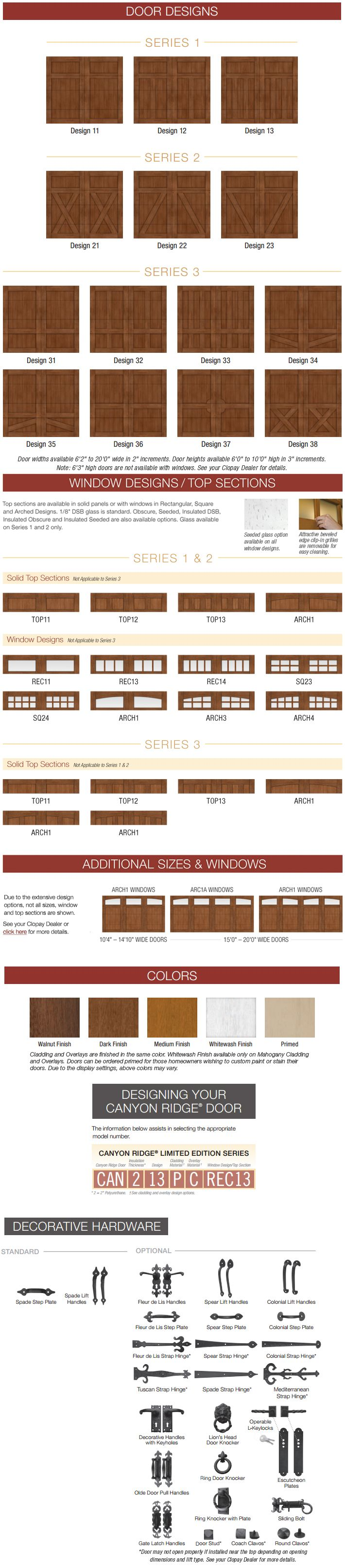 Garage doors sizes available - Canyon Ridge Steel Garage Door Wood Garage Door Clopay