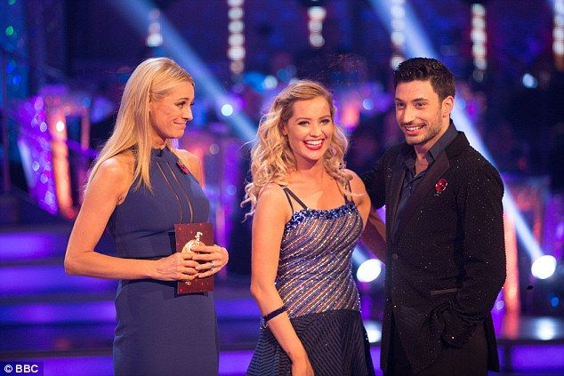 Out: Laura Whitmore (centre) and her dance partner Giovanni Pernice were voted off Strictly Come Dancing on Sunday night. They are seen with co-host Tess Daly