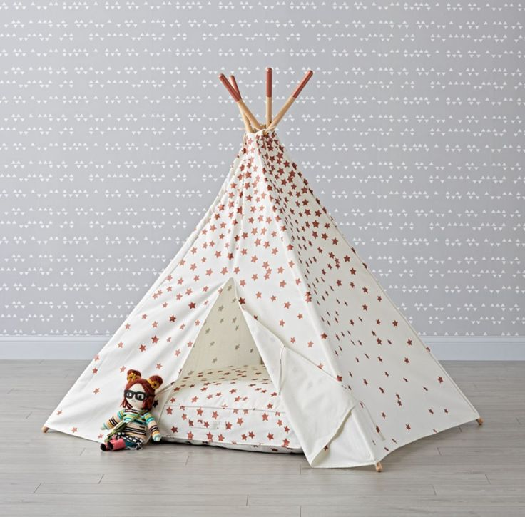 Shop Rose Gold Star Teepee. Covered in a truly stellar print, our Rose Gold Star Teepee will make a dazzling playroom centerpiece or kids room addition.