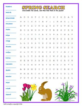 Free! Spring Word Search