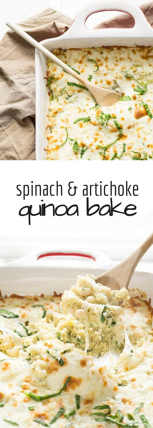 A much healthier way to enjoy the flavour of your favourite dip! Spinach and Artichoke Quinoa Bake for dinner.