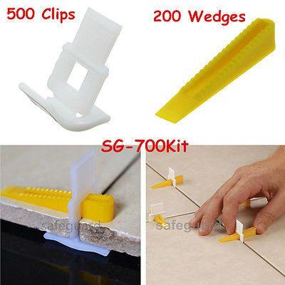 700 Tile Leveling System - 500 Clips + 200 Wedges - Tile Leveler Spacers Lippage
