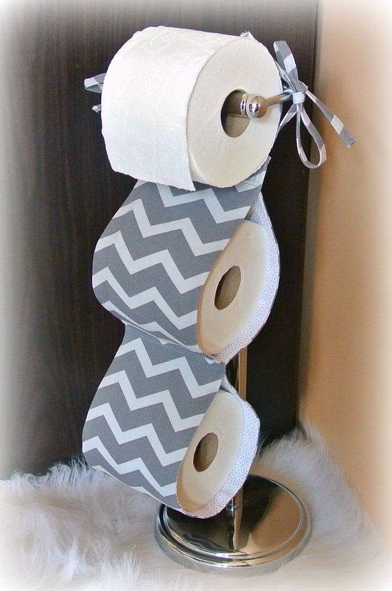 Fabric Toilet Paper Holder ~ Grey Chevron . Bathroom Accessories. Tissue Holder. Housewares. Bathroom Decor. Contemporary Bathroom on Etsy, $18.00