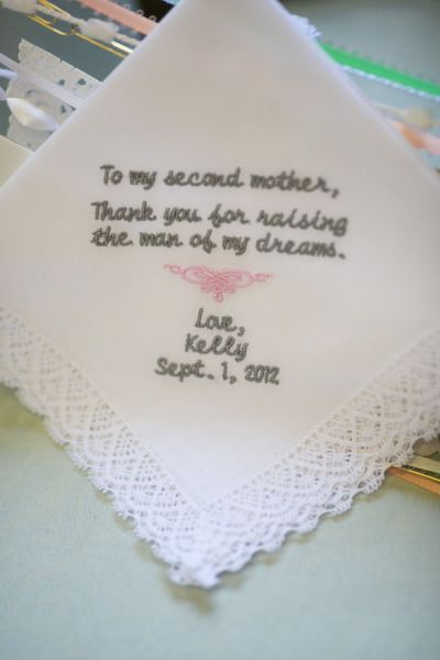 Perfect Wedding Gift for Groom's Mom, I'm not a big fan of a hankie for the mother in law but since this said Kelly I had to pin it.