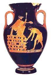 Αττικός αμφορέας ερυθρόμορφου ρυθμού. Η παράσταση του Κροίσου στην πυρά έχει αποδοθεί με το χρώμα του πηλού, αφού όλη η επιφάνεια του αγγείου έχει καλυφθεί με μαύρο στιλπνό βερνίκι (αρχές του 5ου αι. π.Χ.).(Παρίσι, Μουσείο Λούβρου)