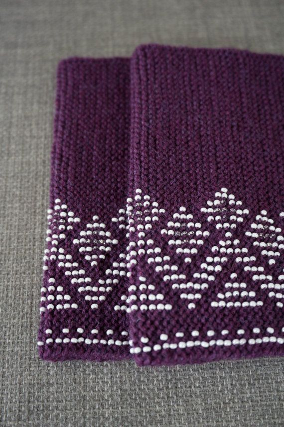 Dark purple and white beaded wrist warmers/ knitted by WoolAndDot
