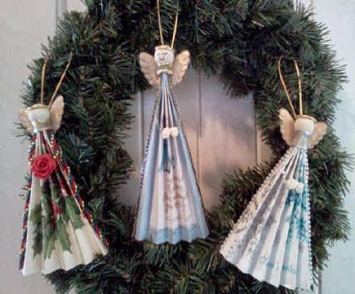 DIY Homemade Christmas Ornaments At BetterBudgeting Christian Rustic Angel Fans With Recycled Cards Easy To Make
