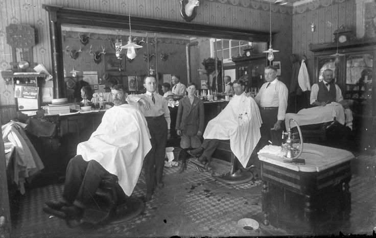 Barbershop Decor Vintage Photo Old Barber Shop Haircut Shave Shoeshine 1910.