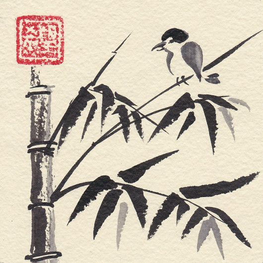 Artistic handmade card from Daniela Renčová: Bambus. Ink wash painting.