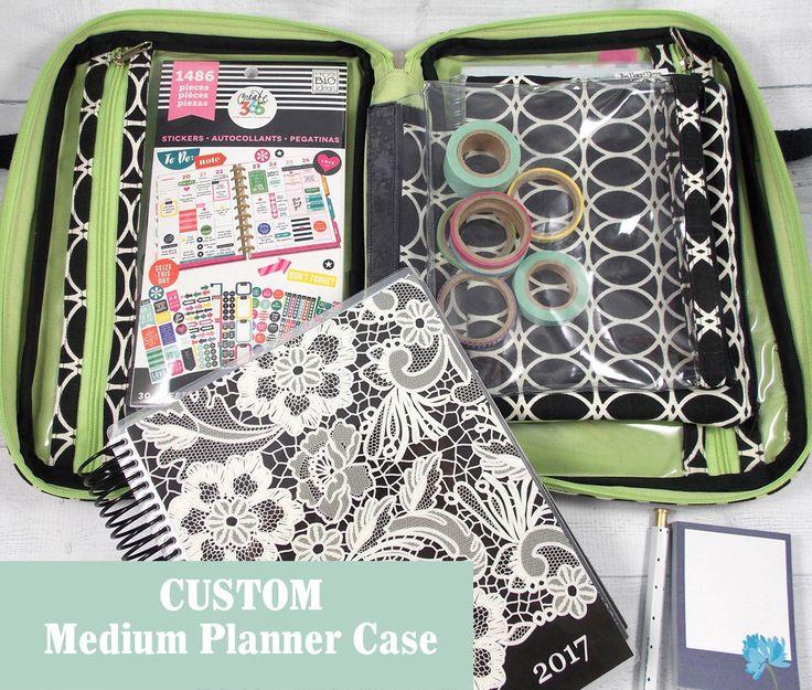 Custom Planner Case • MEDIUM • Zippered Compendium • Planner Accessories • Zip Around Pen Case • CUSTOM • Life Planner • Happy Planner by TheHappiHippo on Etsy https://www.etsy.com/listing/512951654/custom-planner-case-medium-zippered
