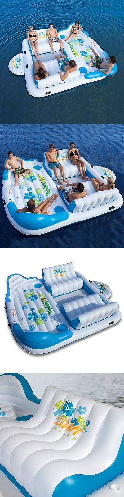 Inflatable Floats and Tubes 79801: Tropical Tahiti Inflatable Floating Island Raft 6 Person Sofa Cooler Lounge New BUY IT NOW ONLY: $299.99