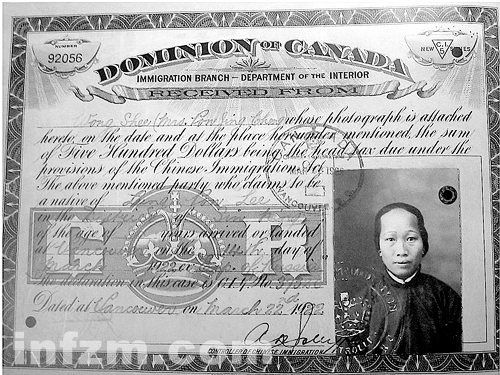 Type of Source: Certificate Date of Origin: 1922 This is a certificate that shows that Chinese Immigrant, Wong Shee, had payed the Head Tax of $500 to the Canadian Government. A head tax was placed on any Chinese Immigrant coming to Canada. Chinese immigrants were soon prevented from entering Canada in 1923, this becoming 'Humiliation Day' for the Chinese community.