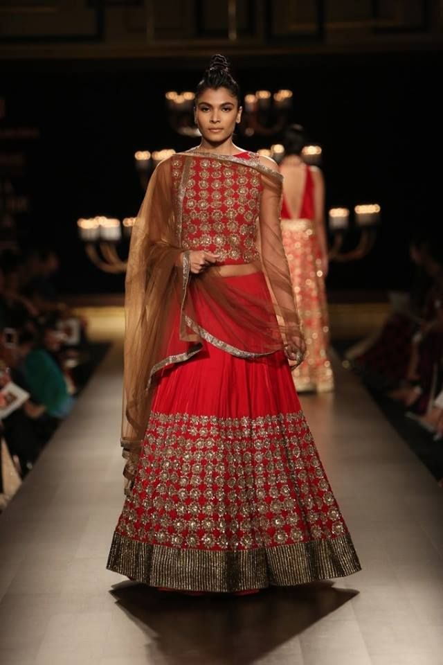 Manish Malhotra at India Couture Week 2014 - red and gold mirror lehnga