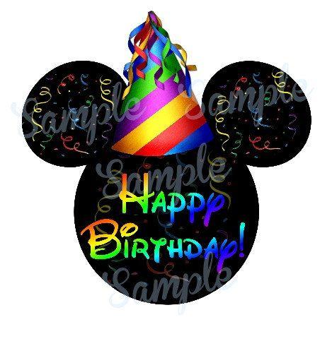 Feliz cumpleaños Mickey cabeza DIGITAL por SwirlyColorPixels