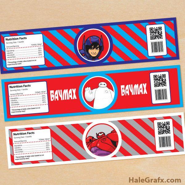 FREE Printable Big Hero 6 Water Bottle Labels