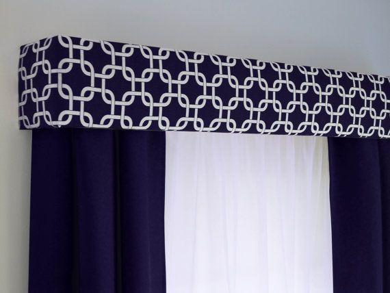 Cornice Board Valance In Navy Blue Geometric Fabric