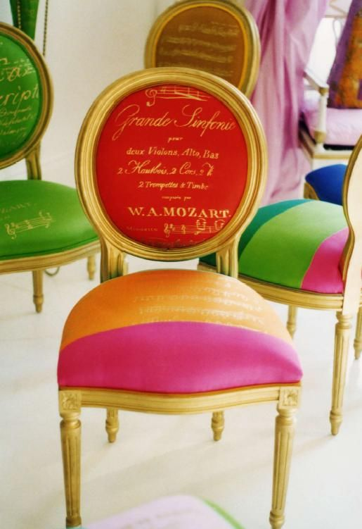 Tangerine and Raspberry sherbet chair with gold script