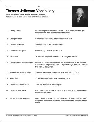 Thomas Jefferson Worksheets and Coloring Pages: Thomas Jefferson Vocabulary Study Sheet