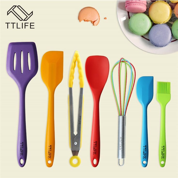 TTLIFE 7 Piece Colorful Premium Silicone Kitchen Utensils Set Cooking Utensil Mixing Spoon Heat-Resistant Silicone Baking Tools