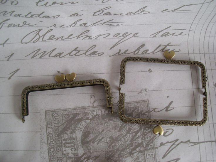 Taschenbügel Messing Herzchen Clip antik Bronze von Leinen-Traum auf DaWanda.com