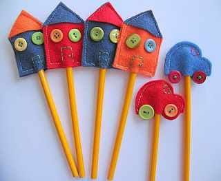 The Best Free Crafts Articles: House and Car Pencil Toppers Free Craft Project by Melissa Goodsell of One Crafty Mumma Blog