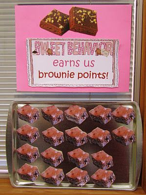 classroom incentive for good behavior 20 brownies earns a treat decided on by the class.