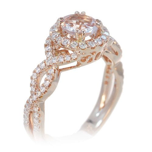 18K Rose Gold 6mm Twist Infinity Design Diamond Halo Morganite Engagement Ring. Gorgeous!
