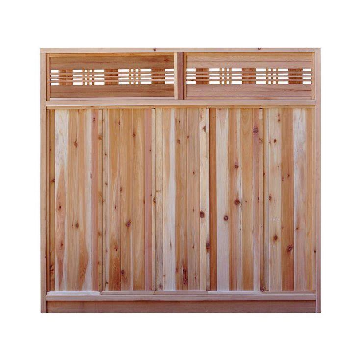 6 ft h x 6 ft w western red cedar horizontal lattice top