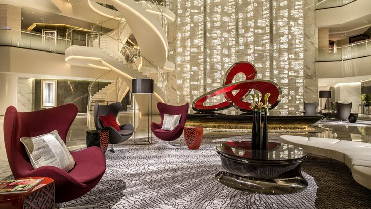 Four Seasons Hotel Guangzhou, China - Interestingly, this Four Seasons Hotel's lobby is on the 70th floor. The hotel occupies the top one third of the 103-story Guangzhou International Finance Center and the exquisite sky lobby offers an expansive view of the Pearl River Delta.