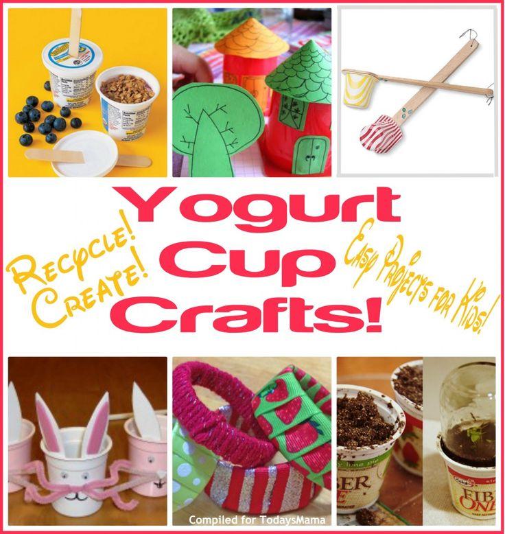 Yogurt Cup CraftsD I Y Crafts, Yogurt Cup Crafts, Yogurt Cups Crafts, Crafts Ideas, Diy Crafts Projects, Crafts Crafts, Kids Crafts, Crafts Spring, Diy Crafty