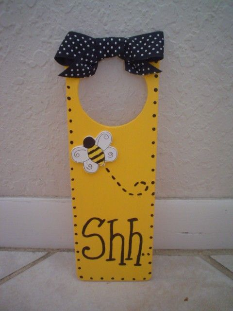 BUMBLE BEE Door Hanger Nursery Pooh Bees Baby Decor. $7.99, via Etsy.