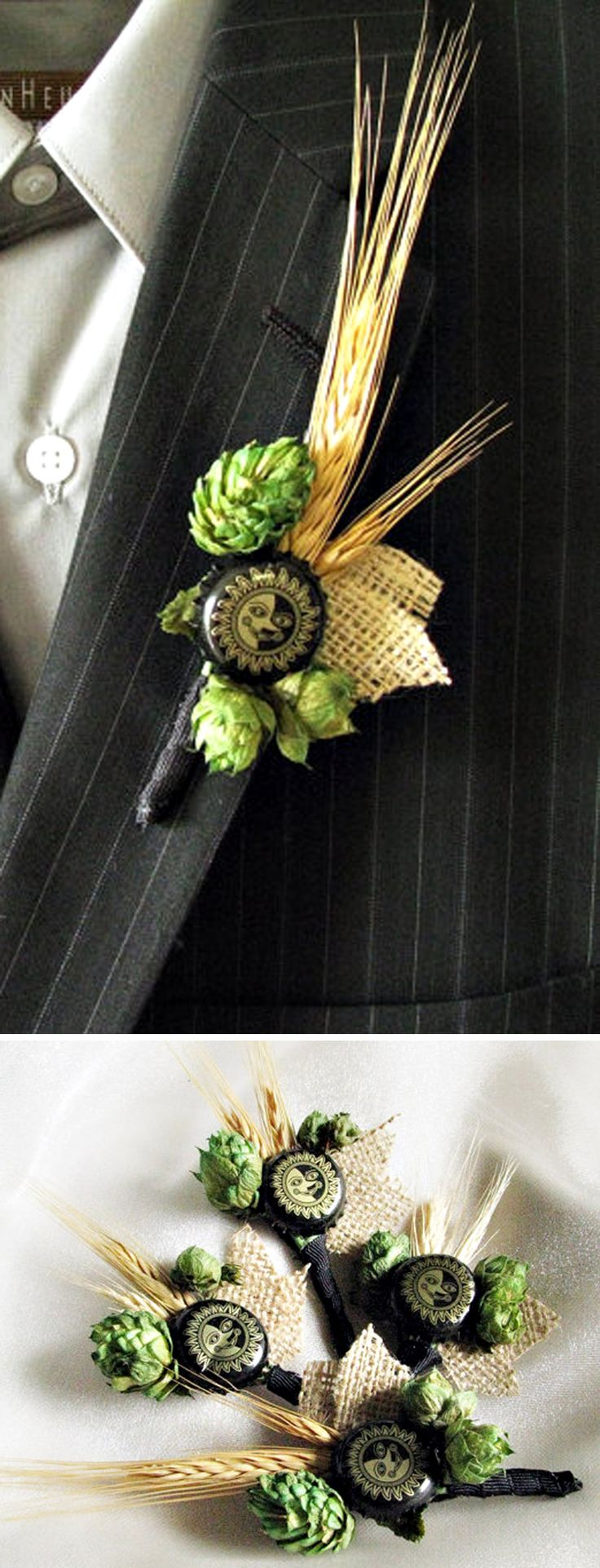real beer hops & wheat boutonniere/lapel pin for grooms who love beer! SO need this when I marry a Cowboy<3