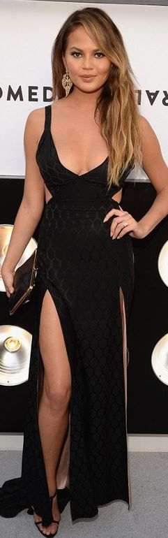 Pintrest: @Loveamarie88  >> Chrissy Teigen's black cut out gown, sandals, and gold jewelry
