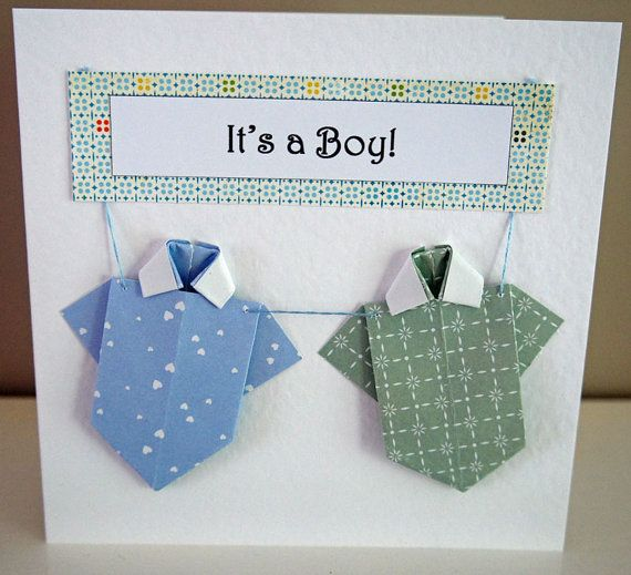It's a Boy Origami Onesie Card