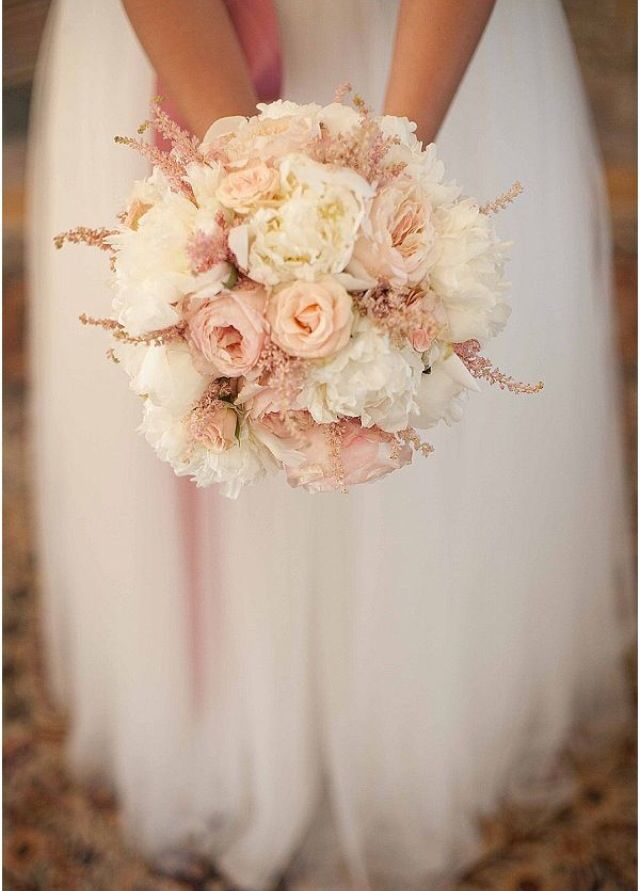 Bridesmaid bouquets: this, only smaller and with dark red astilbes.