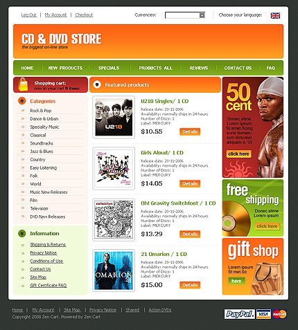 CD DVD ZenCart Templates by Di