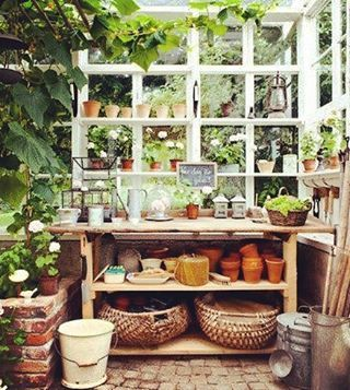 Project planning my potting shed/greenhouse #pottingshed #greenhouse #diy #garden #vintage #vintagegarden #instagarden #project #planning #growyourown #terracotta Photo credit: indeeddecor.com