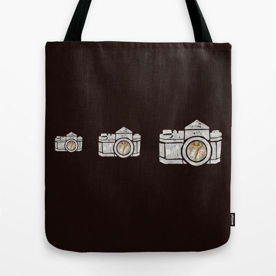 White Camera Tote Bag by Shihotana