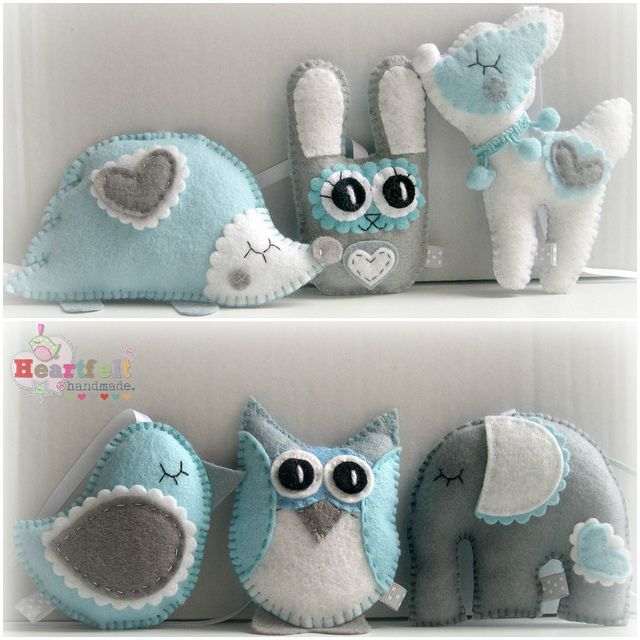 Cute Little Creatures made for a baby's mobile - soft greys, blues and white <3