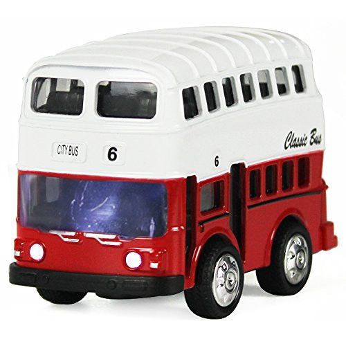 Double Decker Bus Pull Back Play Toy Vehicles, Model Car Kits, Old Car Models, Classic Diecast Model Cars, Moving Vehicle Toys, School Bus Die Cast Bus with Lights and Sounds - iPlay, iLearn (Red)