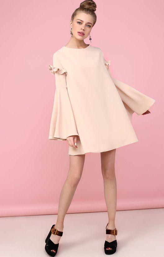 Платье-трапеция с пышными рукавами и рюшами TOP20 Studio / 2000000250703-0