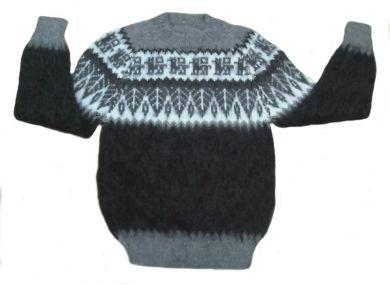 #Kinder #Pullover, grau schwarz, mit Alpaka Designs aus naturbelassener #Alpakawolle. Kinder 4 - 6 Jahre.  Handgestrickt in den Anden Perus. Für Kinder sehr wichtig, Alpakawolle kratzt nicht, da die Fasern der Wolle Röhren sind und keine Zacken haben.