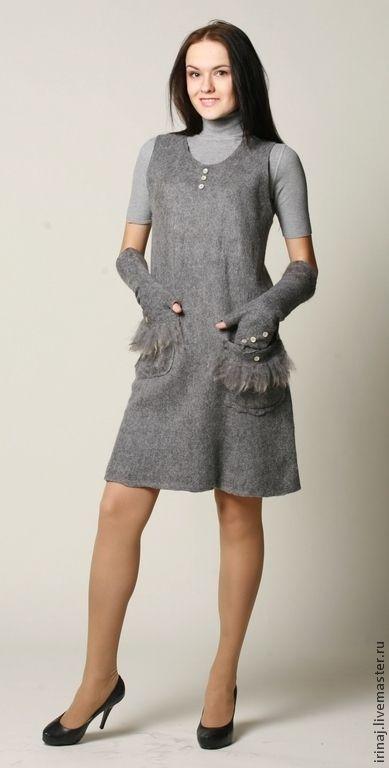 Купить или заказать платье-сарафан  'Gray' в интернет-магазине на Ярмарке Мастеров. Платье-сарафан из потрясающей шерстки натурального серого цвета. Простое, но очень стильное . Отличный вариант для работы или учебы. Для отделки карманов использована шерсть беби альпака. Платье оооочень приятное на ощупь. В комплект можно приобрести длинные митенки ( 1400 руб.), снуд (1500 руб.), берет ( 1800 руб.) Цельноваляный подклад из натурального шелка.