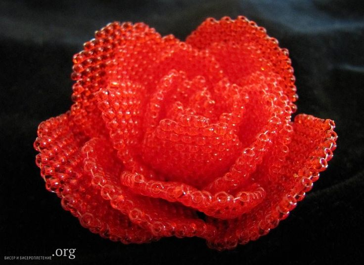Красная роза / Цветы / Biserok.org: Beads Flowers, Beads Tutorials, Seeds Beads, Rose Brooches, Red Rose, Rose Beads, Beads Rose, Red Beads, Beads Creations
