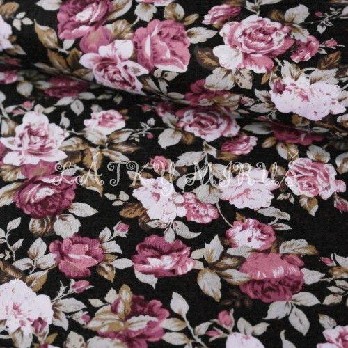 8edb3ef009aa č.2352 popelín růže na černé