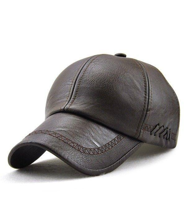597eb377e PU Leather Baseball Cap Casquette Flat Hat European and American ...