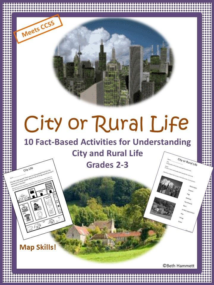 Help students understand the difference between city and rural life with 10 activities. Includes:  Easy to understand definitions of city and rural Matching (2 worksheets: symbols and words) Maps with city and rural activities to choose from.