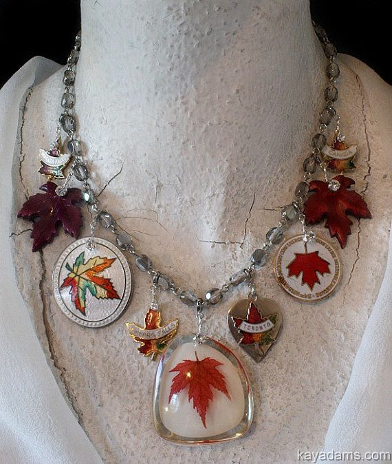 Canadian Necklace. O Canada.  Maple Leaves Abound.  The Ultimate Canadian Statement Necklace. Removable Elements. Kay Adams.