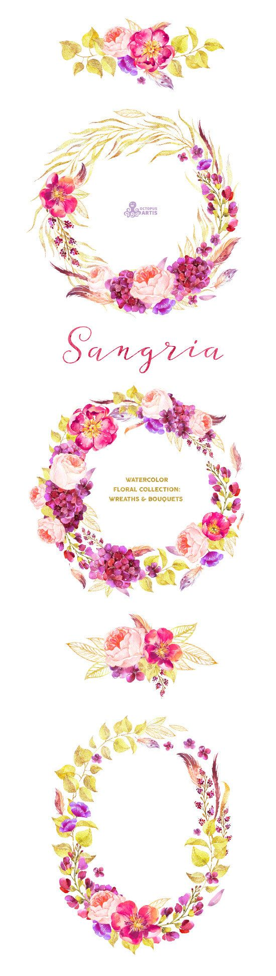 This set of high quality hand painted watercolor floral Wreaths and Bouquets in Hires. Perfect graphic for wedding invitations, greeting cards,